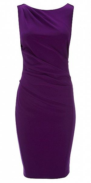 PURPLE DRAPED PONTE DRESS
