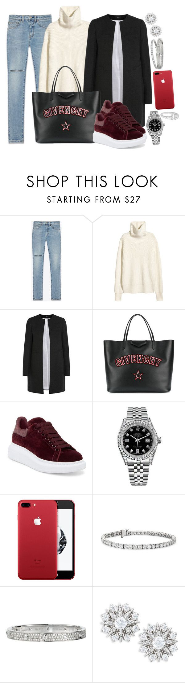 """BACK TO SCHOOL : Givenchy, YSL and Alexander McQueen"" by camrzkn ❤ liked on Polyvore featuring Yves Saint Laurent, Joseph, Givenchy, Alexander McQueen, Rolex, Blue Nile, Cartier and Nadri"