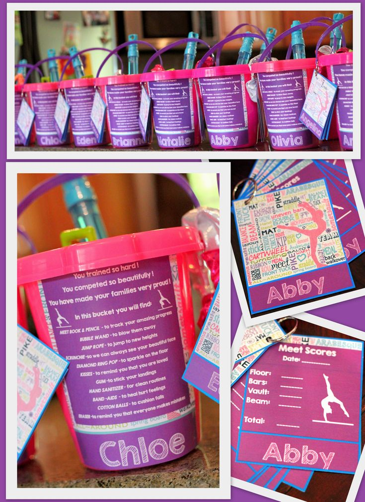 Gymnastics meet goody bags/buckets!  https://www.etsy.com/listing/201310056/gymnastics-team-meet-score-books?