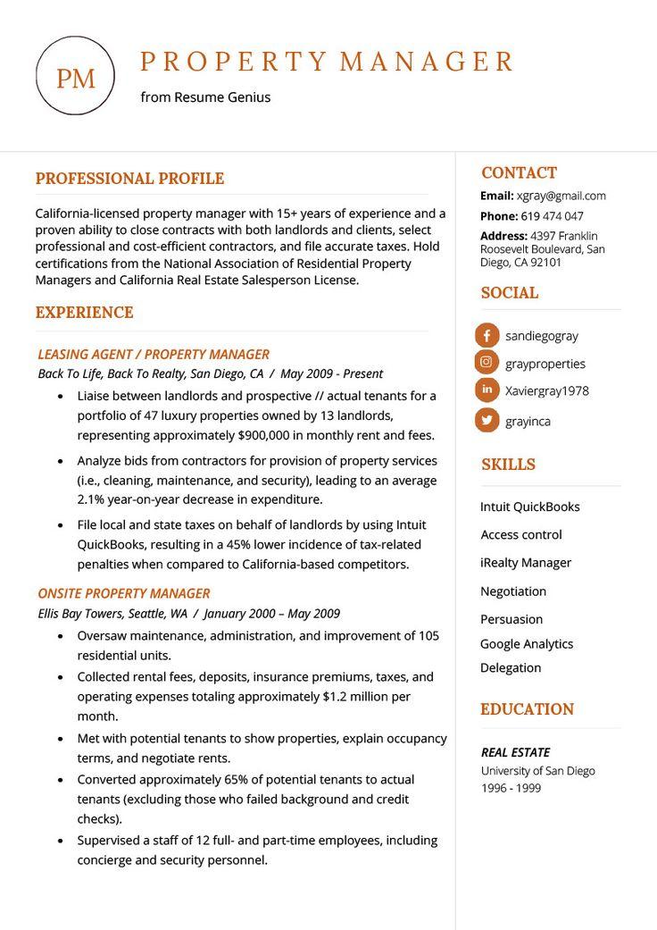 Real Estate Resume Sample Excellent Property Manager