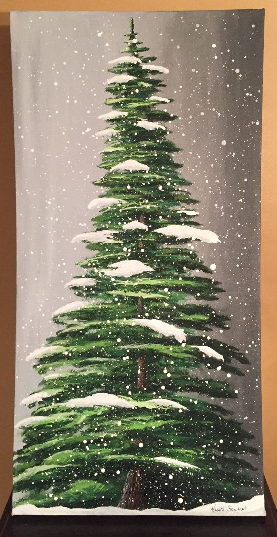 Snowfall  Original Acrylic Painting by KristiBonham on Etsy