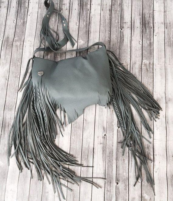 Winter Grey Deerskin Leather Fringe Handbag by RusticMoonLeather
