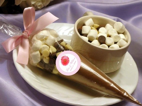 DAISY GERBERA wedding hot cocoa cone favors pink blue white yellow birthday bridal shower baby shower