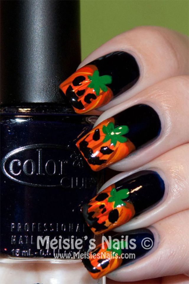 10 scary halloween pumpkins nail art designs ideas and trends 2014 - Easy Cute Halloween Nail Designs