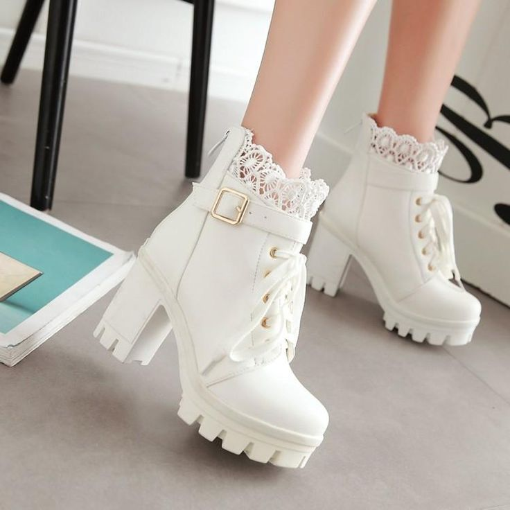 Black/white lace pu heels boots SE10711