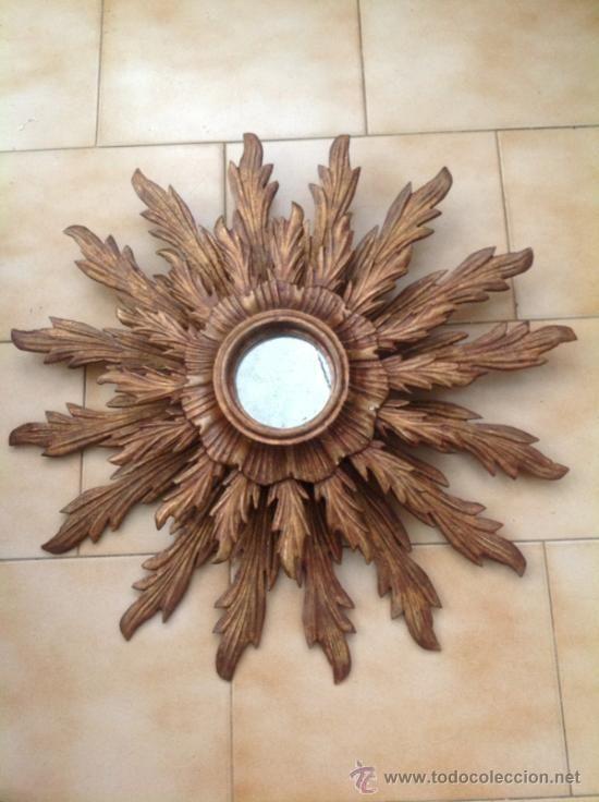 espejo sol en madera tallada vintage original uac