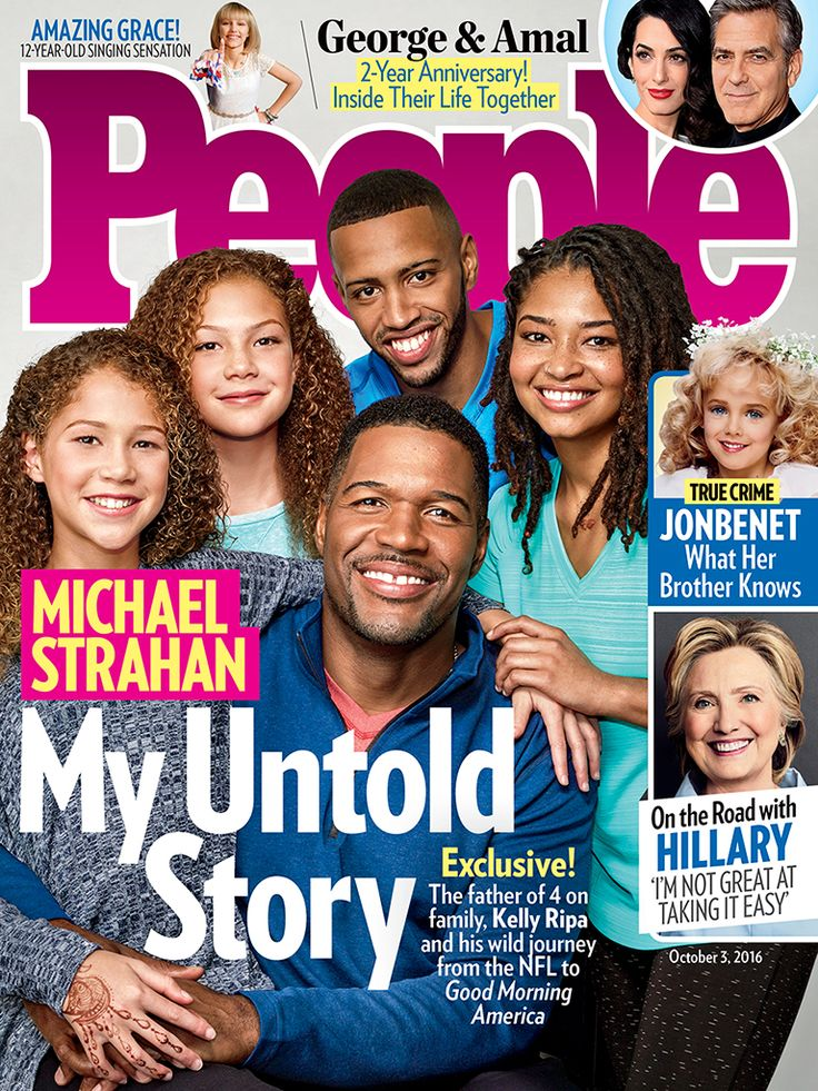 """MICHAEL STRAHAN REFLECTS ON HIS JOURNEY FROM THE NFL TO GOOD MORNING AMERICA His parents Gene & Louise Strahan on the other hand, had no doubts about their son's potential. """"I never knew I could accomplish so much,"""" Strahan 44 tells PEOPLE in this week's issue. """"But my parents never act surprised. And if he ever needs anyone to keep him humble, he has his 4 people at the ready: his kids, Tanita 24 & Michael Jr. 21 with ex wife Wanda Hutchins & twins Isabella & Sophia 12 with 2nd wife Jean…"""