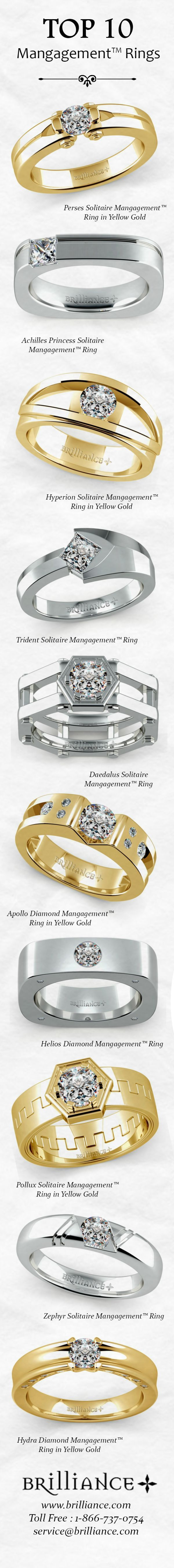 Here are the TOP 10  Mangagement™ Rings (Men's Engagement Rings) from www.Brilliance.com. Get in style and show true commitment with a unique men's engagement ring.