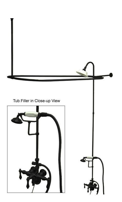 Kingston Brass CCK314.AL Vintage Leg Tub Kit with Faucet Body Metal Lever Handl Oil Rubbed Bronze Faucet Clawfoot Tub Filler Triple Handle