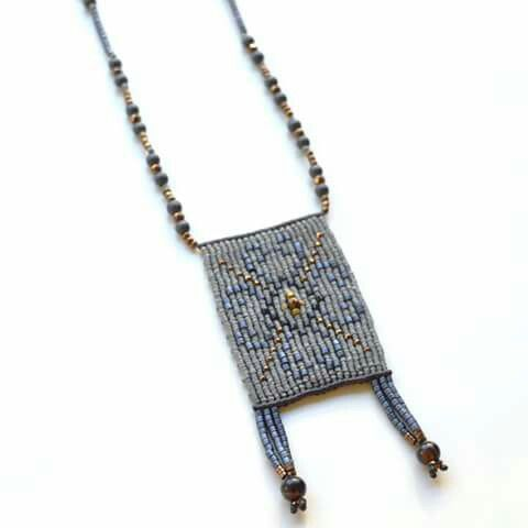 Macrame grey and gold necklace