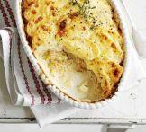 Creamy potato gratin with caramelised onions