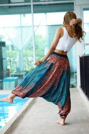 Floral Harem Pants Rayon Pants, Boho Strenchy Pants, Elastic Waist Clothing…