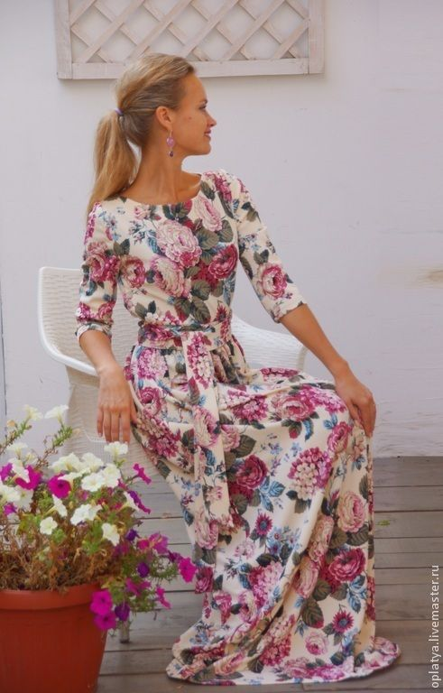 Платья ручной работы. Ярмарка Мастеров - ручная работа Платье в пол Нежные Пионы - платье осеннее с цветами длинное. Handmade.