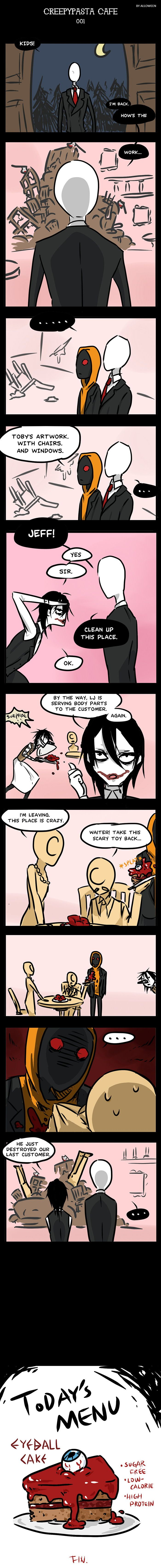 Laughing Jack / Eyeless Jack / Jeff the killer / Slenderman / Masky / Hoodie / Ticci Toby I think Slender is the owner... here's the comics: Creepypasta Cafe 001