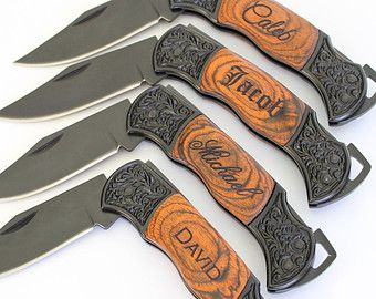 5 Groomsmen Knives Personalized Wood by UrbanFarmhouseTampa