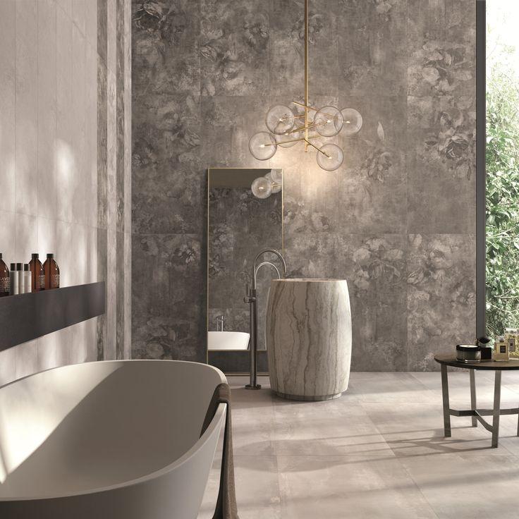 Perfetta armonia cromatica in questo #bagno #abkemozioni che abbina le novità della collezione DO UP, AFFRESCO Dark e AFFRESCO Light, al pavimento INTERNO 9 Pearl. #ceramic #tiles #wall #floor #wallandporcelain #gres #porcellanato #bathroom #design #interiordesign #graphic