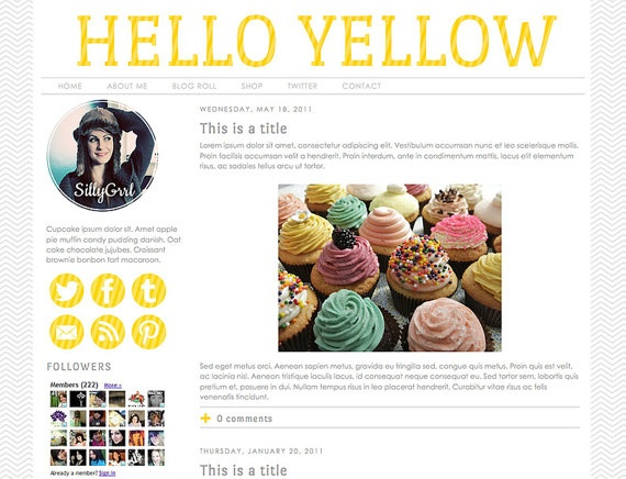 Blogger Premade Template: Hello Yellow stripe, social media icons, minimalist, clean, gray, template, twitter, facebook, pinterest