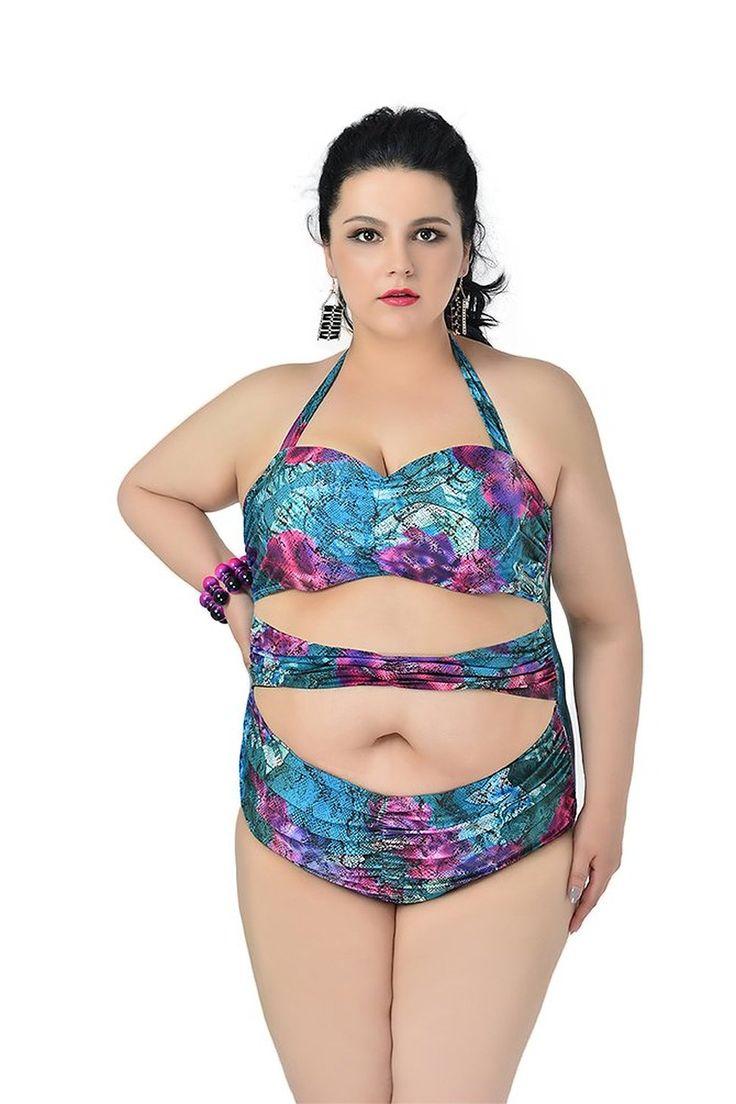 MissFox Plus Größe Damen Bikini Mode Ein Stück Blumen Baden Monokini Badeanzüge: Amazon.de: Bekleidung