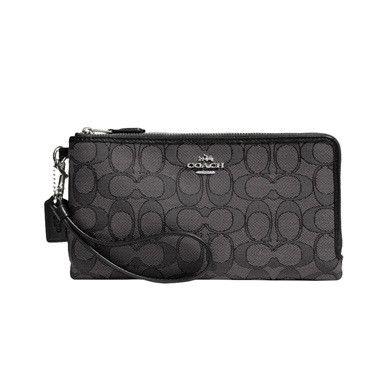 Coach Double Zip Wallet In Signature Fabric (Silver/Black Smoke/Black)