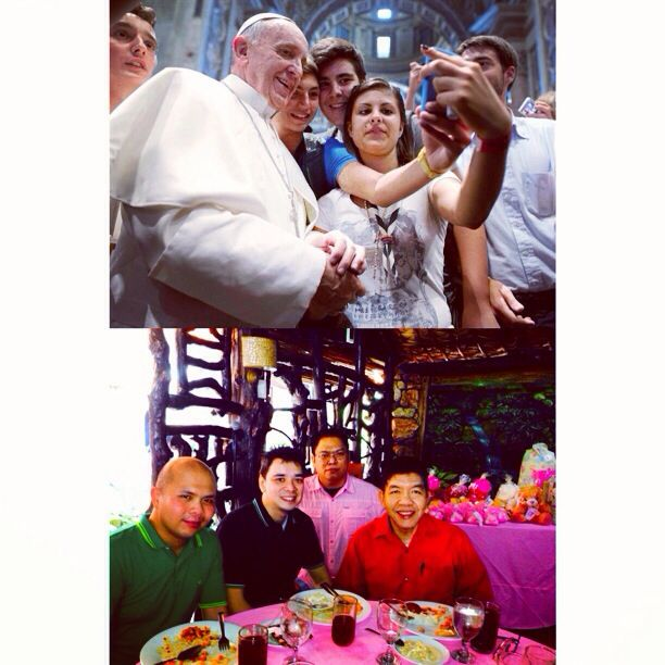 Oxford Dictionary's Word of the Year 2013 is #Selfie. Photo shows Pope Francis posing with #youths during a meeting with the Piacenza diocese in Saint Peter's Basilica at the Vatican on Aug. 28, 2013. Christening of Jaedel Mia with my colleagues. #Holy #Communion #Christ #Grace