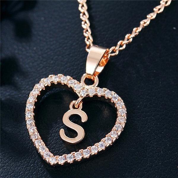 Best Seller Romantic Love Pendant Necklace For Girls 2019 Women Rhines Kjselections Crystal Heart Necklace Letter Pendant Necklace Letter Necklace