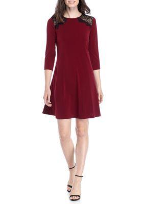 Lennie For Nina Leonard Women's Lace Yoke Trapeze Dress - Bordeaux/Black - M