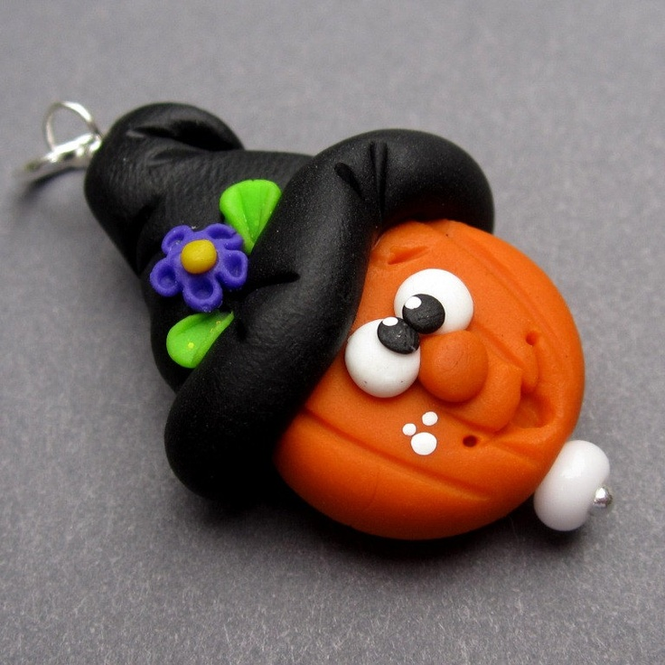Halloween Witch Hat Pumpkin Polymer Clay Pendant Charm with Sterling Silver Jump Ring.