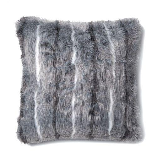 Montana Fur Grey Stripe Cushion