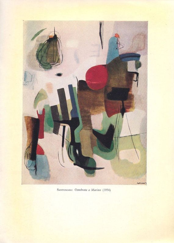MCM Artist Santomaso Rare Signed Book and Signed Letter Abstract Expressionist Artist Mid Century Art
