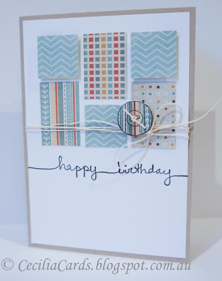 handmade birthday card ... used Retro Sketches #57 design ... all the blocks are paper scraps from other projects ... luv it!!