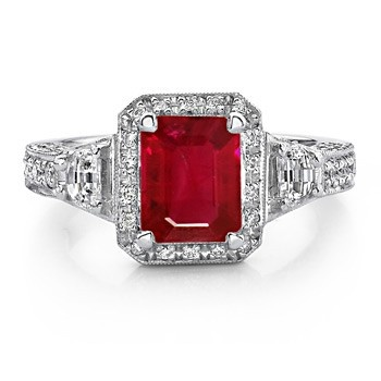 Angara Three Stone Emerald-Cut Ruby Ring in Rose Gold NK7Ro