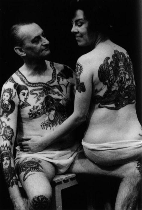 Vintage tattooed couple.