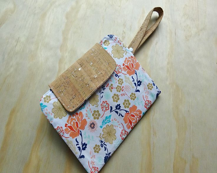 Cork fabric floral fabric nappy clutch. nappy wallet. diaper clutch. diaper wallet. diaper bag. by BitsandBobs4Bubs on Etsy