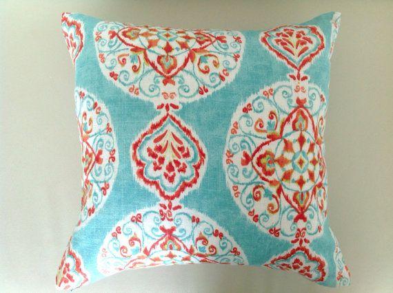 Linen Cushion Boho Pillows, The Boho Mirage Bohemian Style Cushions, Turquoise Cushions Aqua Red Orange Pink Toss Pillow, Lumbar Pillow