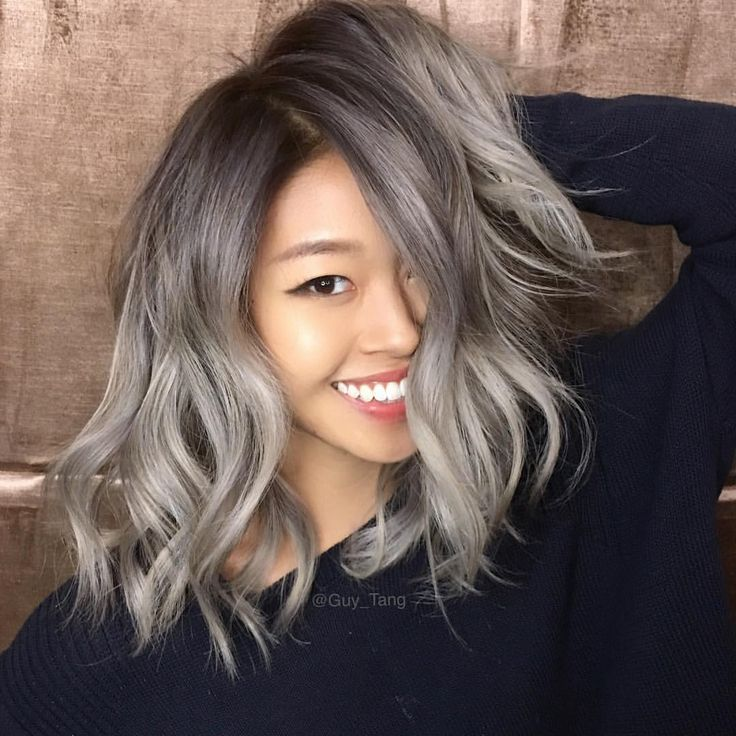 """Guy Tang on Instagram: """"My HairBestie client @rrayyme is craving to be #metallic today so I was debating on Violet or silver metallics and she wanted silver so I gloss her hair with @kenraprofessional Demi 7sm rootagé 8sm in the extra yellowy parts and 10sm on the lighter bits and injected each formula with Violet booster just in case to counter any yellow left in the hair! """""""
