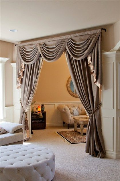 Shimmering Espresso swag valance curtain set  Indulge yourself with this fabulous espresso colored valance curtains, where twinkling light bounces off the smooth fabric, luxurious yet subtle. Embroidery trims along the inner side of curtain panels shape the curves elegantly, echoing the wavy double-layered gold cascade tails.
