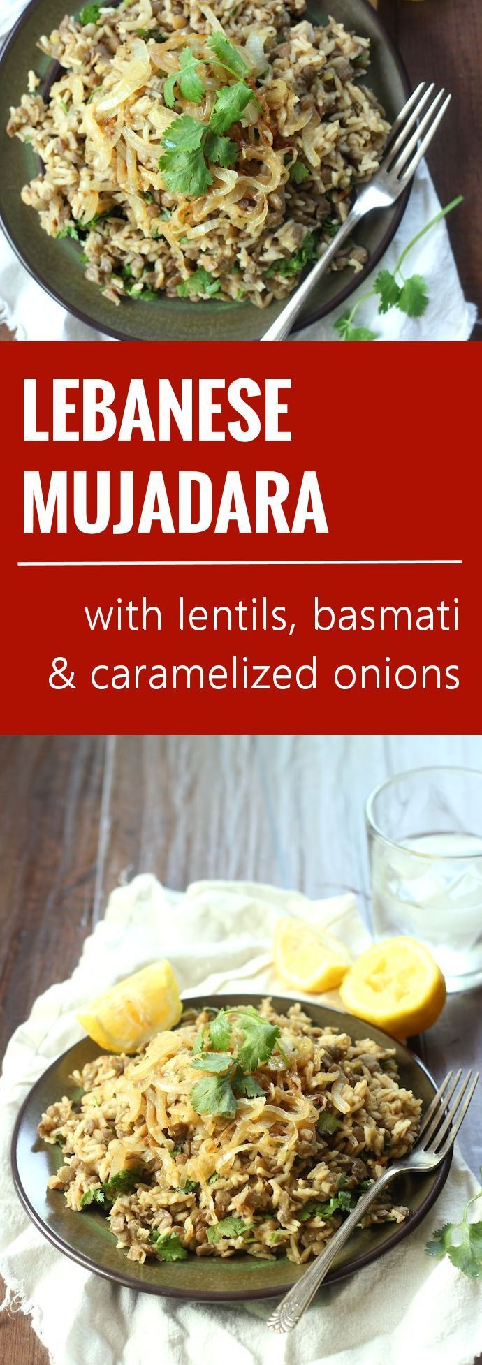 Lebanese spiced lentils and basmati rice are tossed with caramelized onions and fresh cilantro in this savory vegan mujadara.