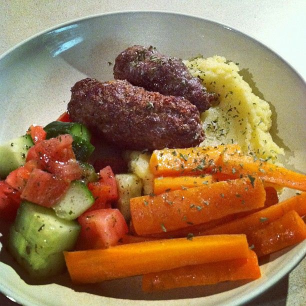 Moroccan kebabs with citrus carrots, mashed sweet potatoes and greek ...
