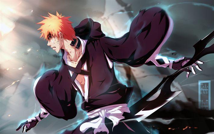 Download wallpapers bleach, kurosaki ichigo, 4k, Japanese manga, characters, Shinigami powers