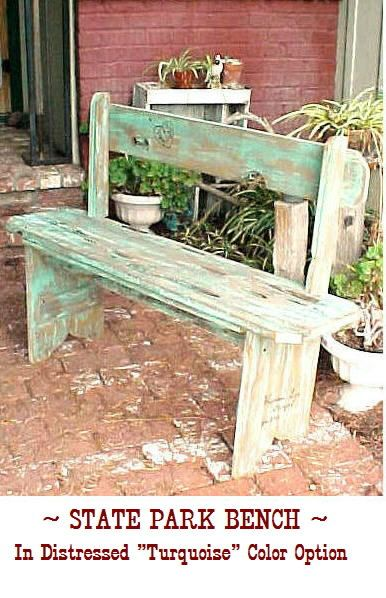 PARK BENCH of a Different Color - Distressed TURQUOISE Option - ( Low Price - Ez Ship Rate )- 42 Sit-n-Relax Bench - C Details. $99.95, via Etsy.