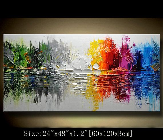 Original Abstract Painting Modern Colorful Abstract Landscape Painting Modern Palette Knife Painting Painting On Canvas By Chen 111c Abstract Painting Painting Original Abstract Painting
