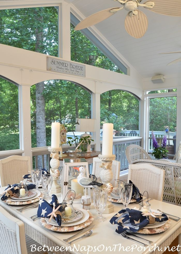 Nautical Table Dining on Screened Porch from Between Naps on the Porch.