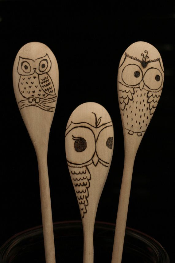 Owl Spoons}Set of 3 Wood Burned Spoons} Available at BlessingFalls on Etsy!
