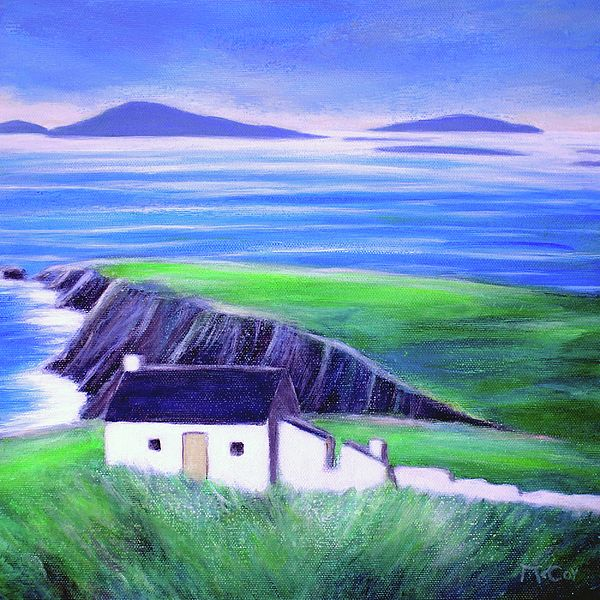Painting of Old Cottage And Ruins, Dingle Peninsula in Ireland - Irish Art - Fine Art Prints