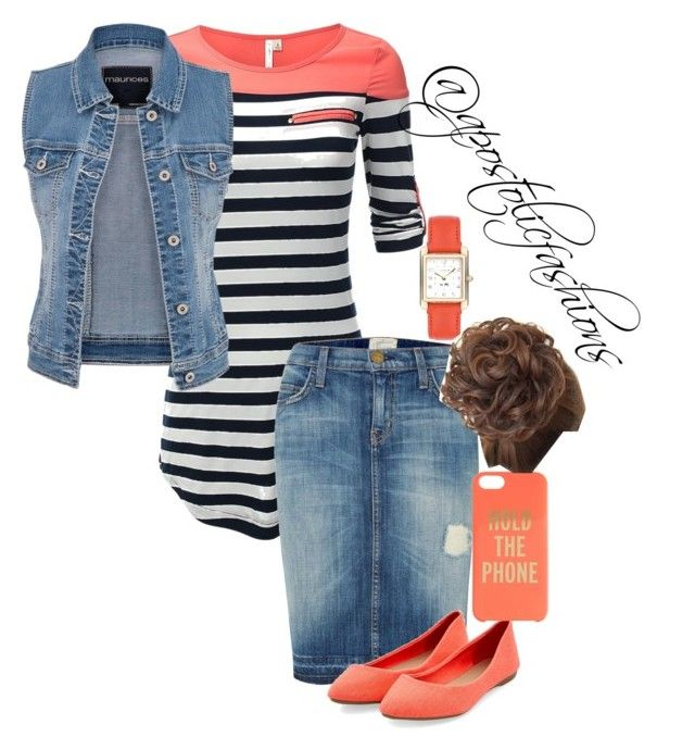 """Apostolic Fashions #1161"" by apostolicfashions on Polyvore featuring maurices, Current/Elliott, Kate Spade and Coach"