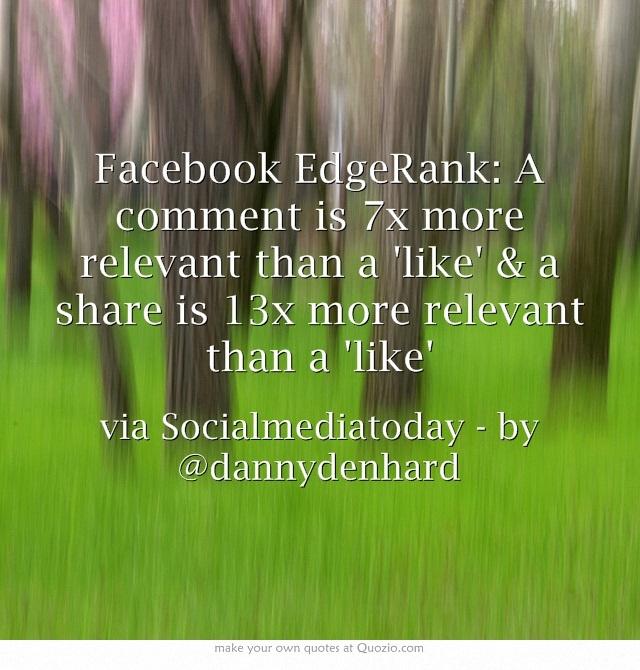 Facebook EdgeRank: A comment is 7x more relevant than a like & a share is 13x more relevant than a like Danny Denhard