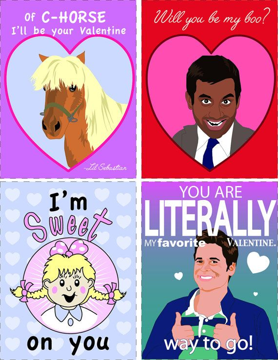 Parks and Rec Printable Valentines Lil Sebastian Tom by HauteFuss Lil Sebastian Sweetums Chris Treager Tom Haverford