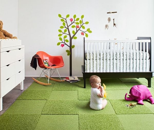 Eco-friendly green carpet tile rug for the nursery