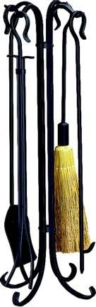 Blue Rhino F-1128 Heavy Weight Rustic Fireplace Tool Set, Black Wrought Iron at ATG Stores