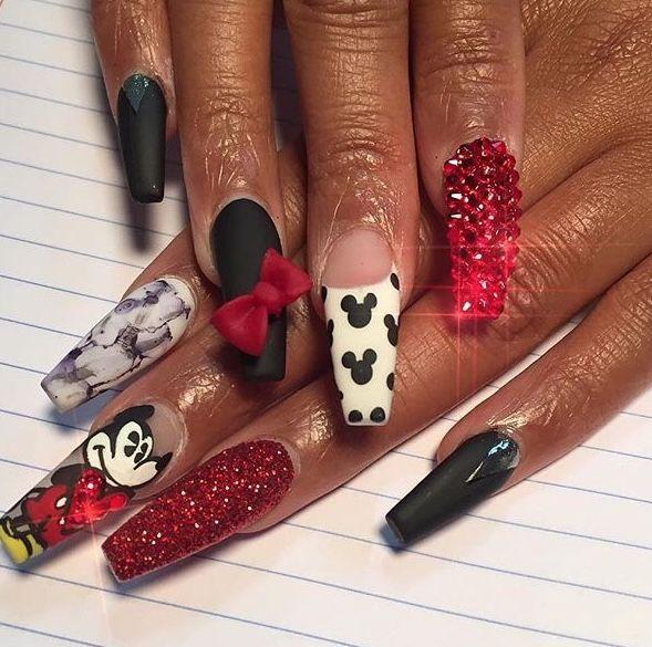 Mickey Mouse Inspired Nails Mickey Nails Disneyland Nails Disney Acrylic Nails